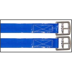 Acion Estribo Biothane Brillo 25mm INOX Azul Par.